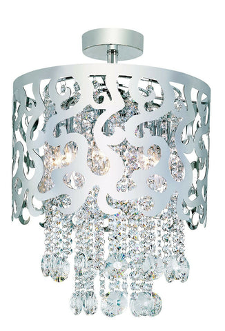 Trans Globe Lighting MDN-697 PC Eight Light Crystal Semi Flush Ceiling Mount in Polished Chrome Finish
