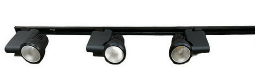Nora NTE-810-BLK Three Light Pillar LED Track Kit with End Feed Cord and Plug in Black Finish