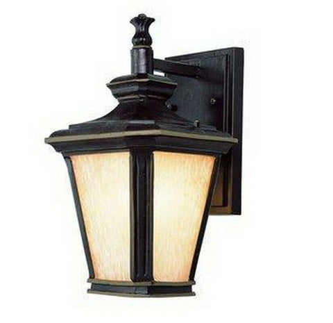 Trans Globe Lighting PL-45840 BGO-LED One Light Exterior Outdoor Wall Mount Lantern in Brown Finish with Gold Accents