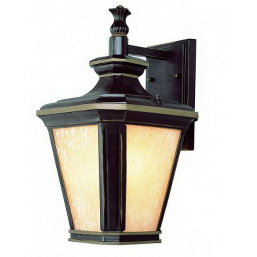 Trans Globe Lighting PL-45841 BGO-LED One Light Exterior Outdoor Wall Mount Lantern in Brown Finish with Gold Accents
