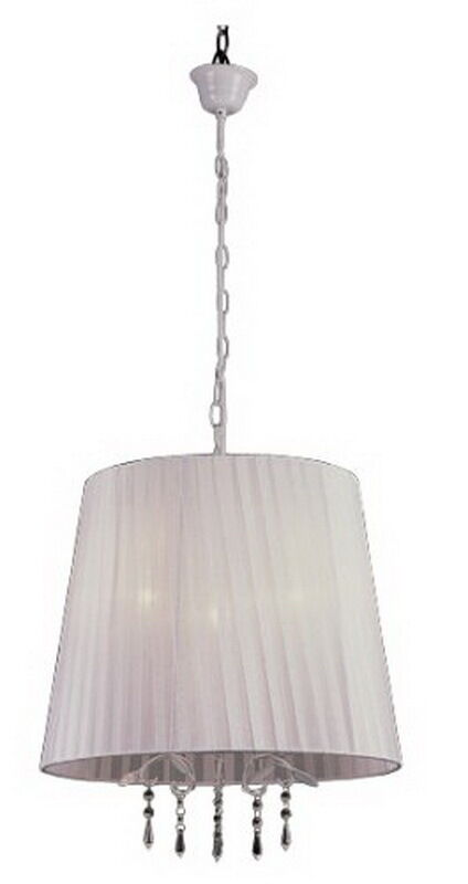 Trans Globe Lighting PND-605 WH Three Light Chandelier in White Finish with White Shade and Crystal