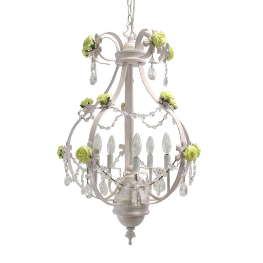 Trans Globe Lighting KDL-705 YL Five Light Chandelier in White Finish with Yellow Rose and Clear Crystal - Quality Discount Lighting