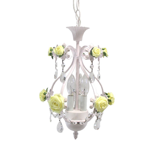Trans Globe Lighting KDL-700 YLW Three Light Chandelier in White Finish with Crystal - Quality Discount Lighting