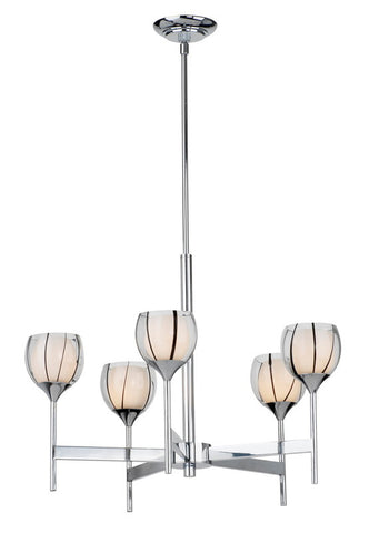 Forecast Lighting F1710-35 Carmen Collection 5 Light Chandelier in Polished Chrome Finish