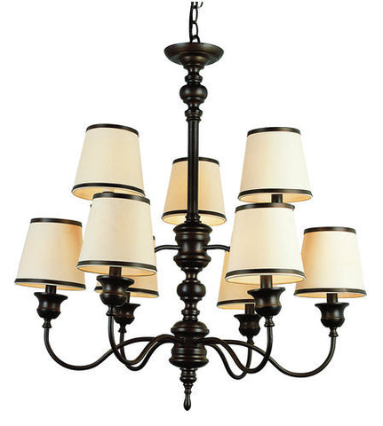 Trans Globe Lighting 7539 ROB Back To Basics Collection 9 Light Chandelier in Rubbed Oil Bronze Finish - Quality Discount Lighting