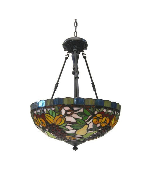 Quoizel Lighting QX0467A Three Light Leaded Stained Glass Pendant Chandelier in Vintage Bronze Finish - Quality Discount Lighting