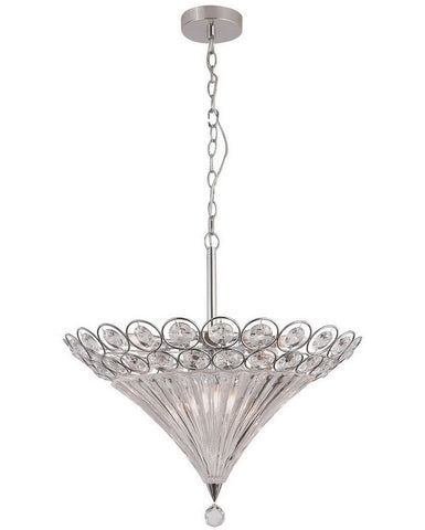 Trans Globe Lighting MDN-915 Ten Light Pendant Chandelier in Polished Chrome Finish and Crystal - Quality Discount Lighting