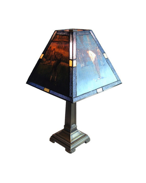 Rainbow Lighting 1100 BL One Light Leaded Stained Art Glass Multi Scene Golf Lamp - Quality Discount Lighting