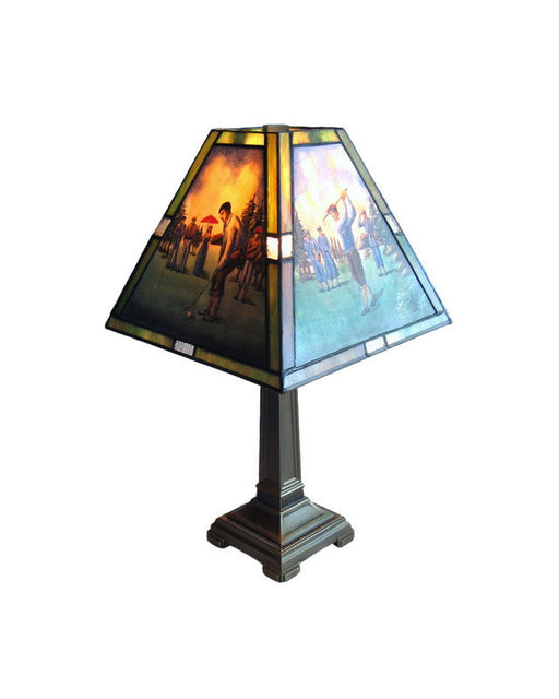 Rainbow Lighting 2200 GR One Light Leaded Stained Art Glass Multi Scene Golf Lamp - Quality Discount Lighting