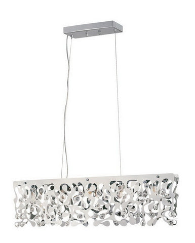 Trans Globe Lighting MDN-957 Five Light Island Pendant Chandelier in Polished Chrome Finish and Crystal - Quality Discount Lighting