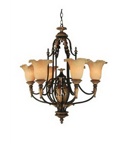 Trans Globe Lighting 9346 Six Light Chandelier in Gold and Patina Finish - Quality Discount Lighting