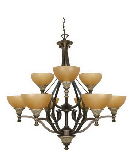 Nuvo Lighting 60-1091 Rockport Tuscano Nine Light Chandelier in Dorado Bronze Finish - Quality Discount Lighting