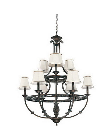 Nuvo Lighting 60-1563 Pickford Nine Light Chandelier in Distressed Bronze Finish - Quality Discount Lighting