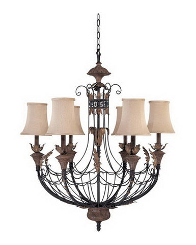 Nuvo Lighting 60-2102 Verdone Collection Six Light Chandelier in Gilded Cage Finish and Maple Wood Shades - Quality Discount Lighting
