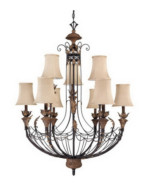 Nuvo Lighting 60-2103 Verdone Collection Nine Light Chandelier in Gilded Cage Finish and Maple Wood Shades - Quality Discount Lighting