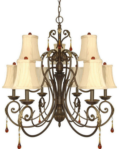 Nuvo Lighting 60-1142 Cortina Collection Nine Light Chandelier in Dune Gold Finish - Quality Discount Lighting