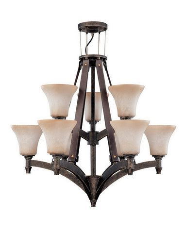 Nuvo Lighting 60-2442 Viceroy Collection Nine Light Energy Efficient Fluorescent Chandelier in Golden Umber Finish - Quality Discount Lighting