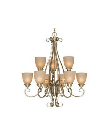 Vaxcel Lighting CH35909 AC Nine Light Chandelier in Antique Brass Finish - Quality Discount Lighting