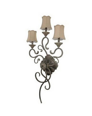 Nuvo Lighting 60-1152 Celeste Collection Three Light Wall Sconce in Gold Coast Finish and Fabric Shades - Quality Discount Lighting