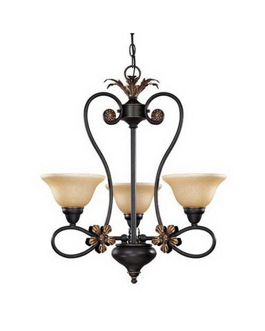 Nuvo Lighting 60-1621 Francesca Collection Three Light Chandelier in Rustic Bronze Finish - Quality Discount Lighting