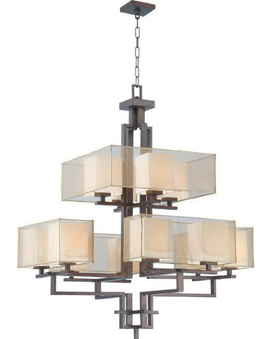 Nuvo Lighting 60-4389 Melanie Collection Twelve Light Chandelier in Corvo Bronze Finish - Quality Discount Lighting