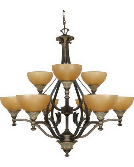 Nuvo Lighting 60-2479 Rockport Tuscano Collection Nine Light Energy Efficient Fluorescent Chandelier in Dorado Bronze Finish - Quality Discount Lighting
