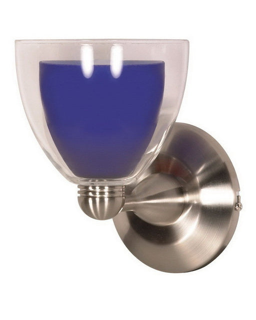 Nuvo Lighting 60-700 One Light Wall Sconce in Brushed Nickel Finish and Cobalt Blue Glass - Quality Discount Lighting