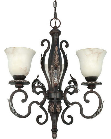 Nuvo Lighting 60-1165 Cipriani Collection Three Light Chandelier in Garnet Bronze Finish - Quality Discount Lighting