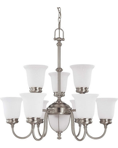 Nuvo Lighting 60-2809 Salem Collection Eleven Light Chandelier in Brushed Nickel Finish - Quality Discount Lighting