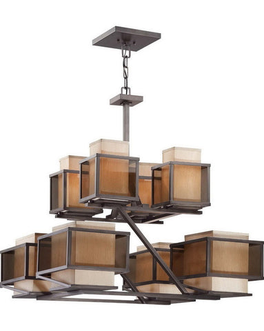 Nuvo Lighting 60-4898 Matrix Collection Eight Light Chandelier in Henna Bronze Finish - Quality Discount Lighting