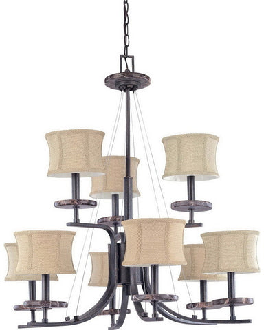 Nuvo Lighting 60-1443 Madison Collection Nine Light Chandelier in Ledgestone Finish - Quality Discount Lighting