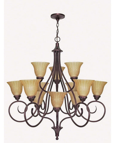 Nuvo Lighting 60-009 Moulan Collection Twelve Light Chandelier in Copper Bronze Finish - Quality Discount Lighting