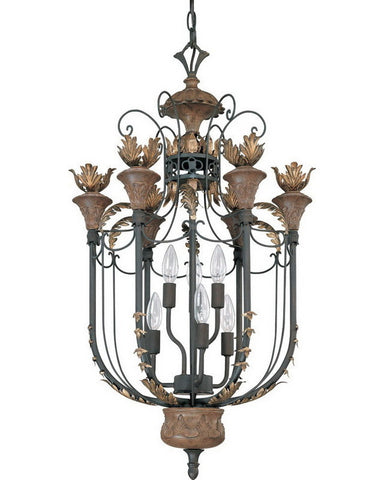 Nuvo Lighting 60-2106 Verdone Collection Six Light Pendant Chandelier in Gilded Cage Finish - Quality Discount Lighting