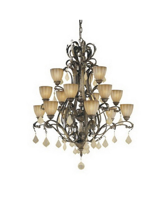 Vaxcel Lighting EP-CHU015 AW Fifteen Light Chandelier in Aged Walnut Finish - Quality Discount Lighting