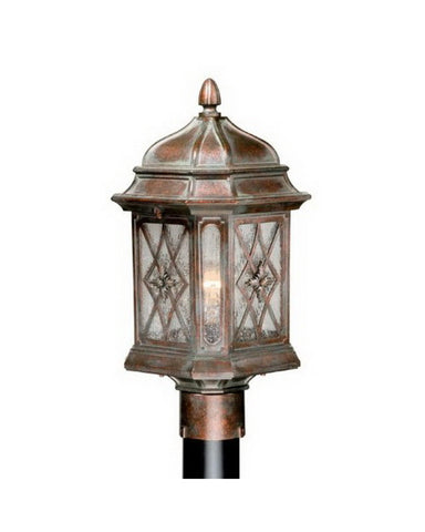 Vaxcel Lighting OPU090 RZ One Light Exterior Outdoor Post Lantern in Royal Bronze Finish - Quality Discount Lighting
