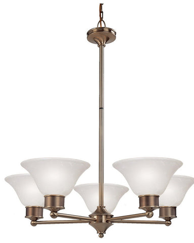 Z-Lite Lighting 309-5C Five Light Chandelier in Burnished Nickel and Chocolate Finish - Quality Discount Lighting