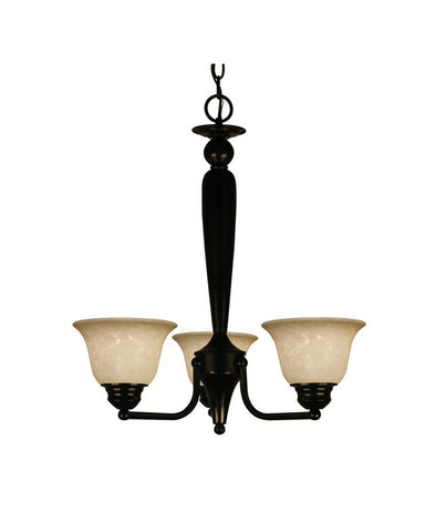 Z-Lite Lighting 100-3P-BRZ Three Light Hanging Chandelier in Bronze Finish - Quality Discount Lighting
