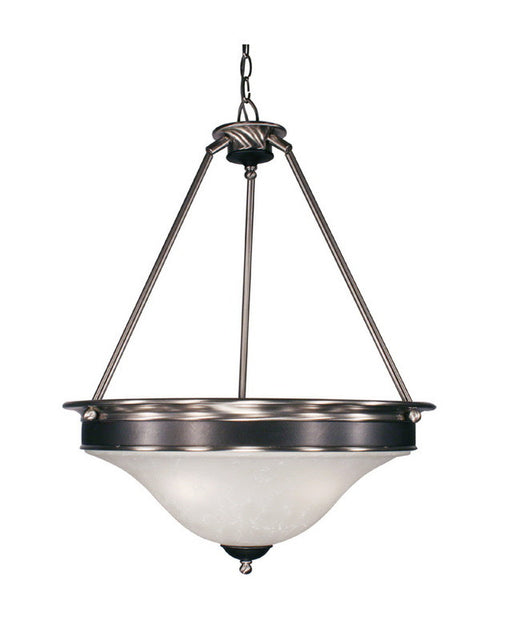 Z-Lite Lighting 310P Three Light Pendant Chandelier in Satin Nickel and Black Finish - Quality Discount Lighting
