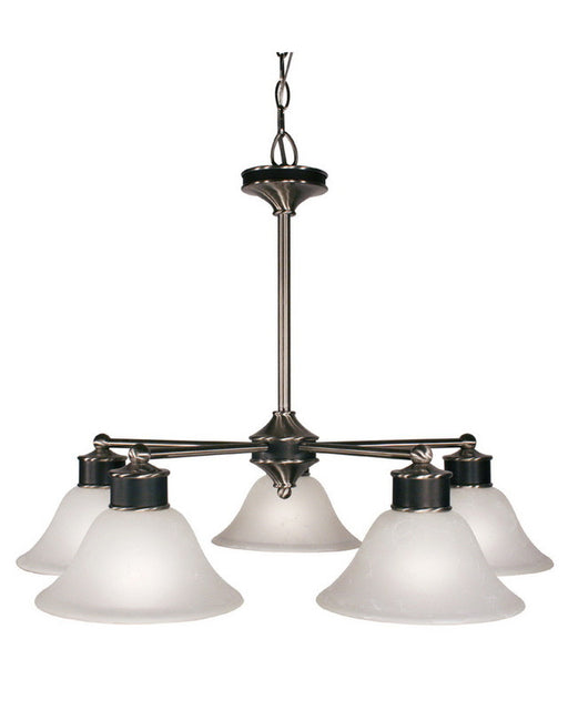 Z-Lite Lighting 310-5 Five Light Chandelier in Satin Nickel and Black Finish - Quality Discount Lighting