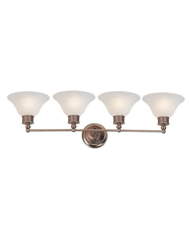 Z-Lite Lighting 309-4V Four Light Bath Vanity Wall Mount in Burnished Nickel and Chocolate Finish - Quality Discount Lighting