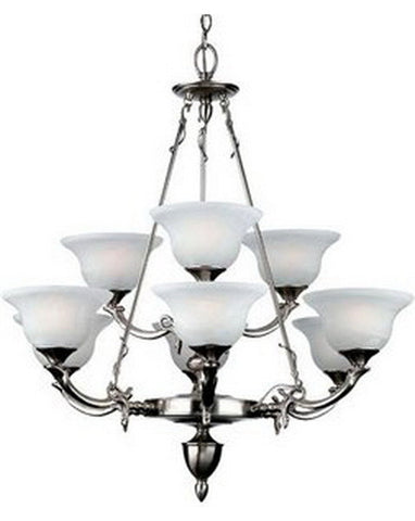Forecast Lighting F608-40 Indulgence Collection 9 Light Chandelier in Antique Silver Finish