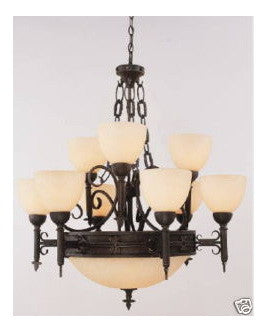 Trans Globe Lighting 3769 BK 9+4 Chandelier in Black Finish - Quality Discount Lighting