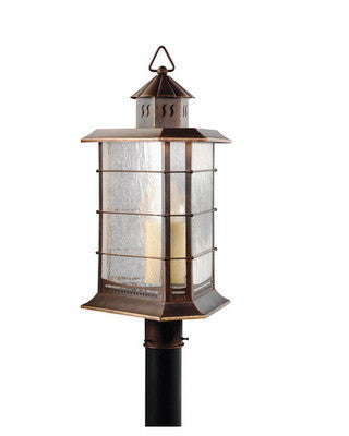 Kichler Lighting 40046 DBR Titus Collection Three Light Outdoor Post Light in Distressed Brass Finish - Quality Discount Lighting