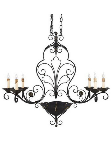 Quoizel Lighting RVG636 SM Six Light Island Chandelier in Serengeti Black and Mayan Gold Finish - Quality Discount Lighting