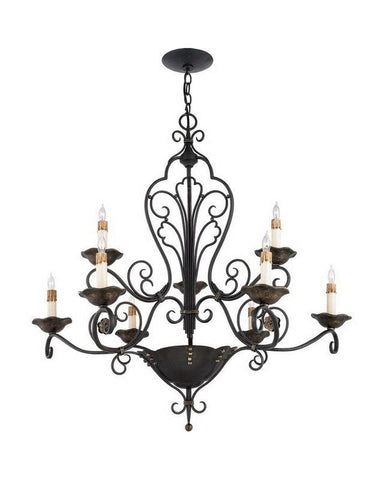 Quoizel Lighting RVG5009 SM Nine Light Chandelier in Serengeti Black and Mayan Gold Leaf Finish - Quality Discount Lighting