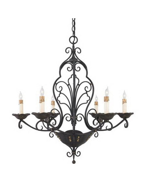 Quoizel Lighting RVG5006 SM Six Light Chandelier in Serengeti Black and Mayan Gold Leaf Finish - Quality Discount Lighting