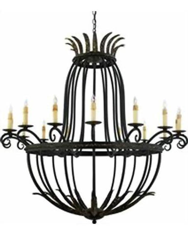 Quoizel Lighting RRF5016 SM Rafaella Collection Sixteen Light Chandelier in Serengeti Black and Mayan Gold Leaf Finish - Quality Discount Lighting