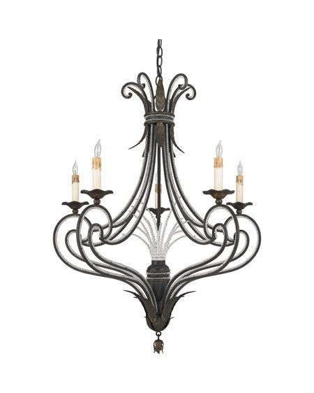 Quoizel Lighting RBT5005 SM Five Light Chandelier in Serengeti Black and Mayan Gold Leaf Finish - Quality Discount Lighting