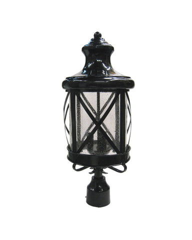 Epiphany Lighting 104903 BK Cast Aluminum Outdoor Exterior Post Three Light Lantern in Black Finish
