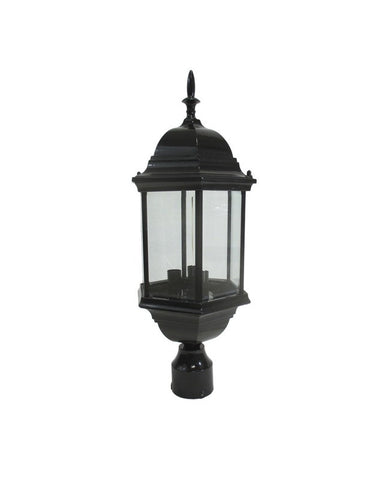 Epiphany Lighting 104986 BK Cast Aluminum Outdoor Exterior Three Light Post Lantern in Black Finish - Quality Discount Lighting